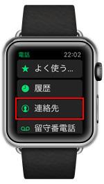 Apple Watchで連絡先一覧を表示する