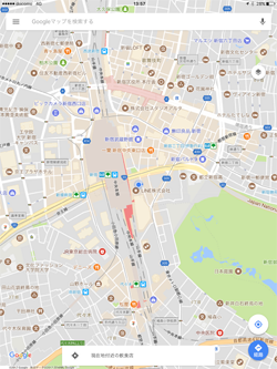 iPadのGoogleマップで地図上に現在位置を表示する