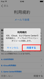 iPod touch 利用規約に同意する