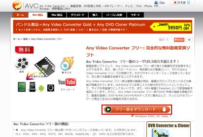 Any Video Converter フリー版 【ダウンロードサイ …