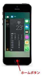 iPhoneでホームボタンを押してマルチタスク画面を表示する