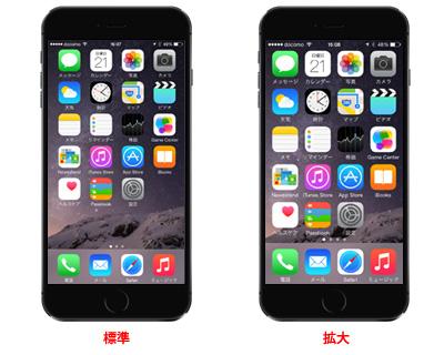 iPhoneで画面表示を標準・拡大で切り替える